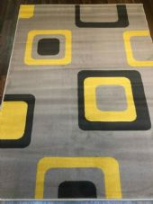 MODERN DESIGN APPROX 6X4 120X170CM WOVEN BACKED TOP QUALITY LIGHT GREY/YELLOW..